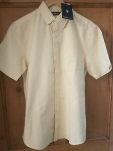 FARAH CASUAL COTTON SHORT SLEEVED SHIRT SIZE M PASTEL YELLOW ONLY £19.99