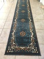 "3x11  Runner Rug Persian Oriental Medallion Floral  Size 2'3""x10'10""  LIGHT Blue"