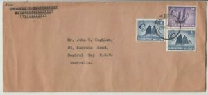 Stamps various Singapore 1957 on Universal Trading Co cover sent NSW Australia