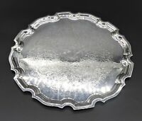 VINTAGE FLORAL CHASED SALVER SERVING TRAY SANDWICH CAKE APPETIZER SILVER PLATE