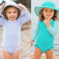Toddler Kids Baby Girl Dot Striped Swimsuit with Sun Protection Swimwear