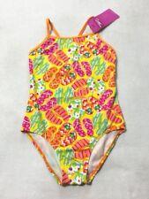 NWT Speedo Girls 14 Yellow Orange Pink Flip Flop Swimsuit One Piece