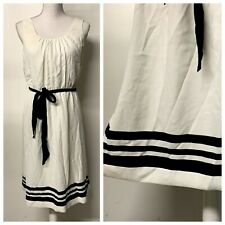 LOFT Cream Black Striped Pleated Front Belted Dress Womens Size 8 Tall Career