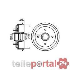 Bremstrommel  Hinten Hinterachse passend für FORD ESCORT