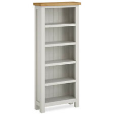 Farrow Painted Slim Bookcase / Narrow Grey Painted Bookshelf / Shelving / Oak