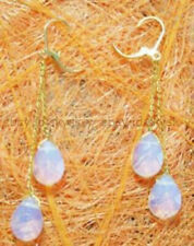 White Blue Fire Opal Drop Yellow Gold Plated Link Leverback Hook Dangle Earrings