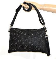 BORSELLO borsa NERO donna borsetta chiodini grigio eco pelle tracolla bag A22