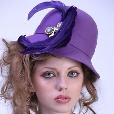 VTG 60s 70s FRANK OLIVE Purple FEATHER FEDORA Wide Brim Church HAT Derby NOS