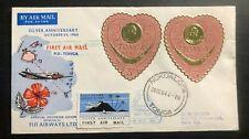 1964 Nukualofa Tonga Toga First Day Cover to Suva Fiji Silver Anniv Flight Label