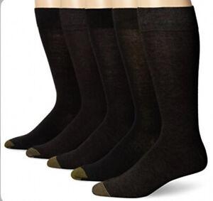 Gold Toe Men's Flat Knit Crew Socks Black 5 Pairs Shoe Size: 6-12 ZP-7841