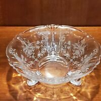 Heisey Orchid Etch Queen Anne Crystal Dolphin Footed Sauce Bowl 7 1/2 Inches