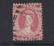 Bahamas Sc 25 used. 1882 4p rose QV, clipped corner
