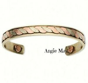 Antiqued Copper & Brass Magnetic Rope Design Healing Cuff Arthritis Bracelet