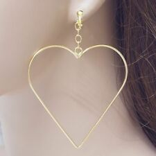 #E215V Pair long CLIP ON EARRINGS Dangle Big 6cm Heart Hoop Drop Stylish New