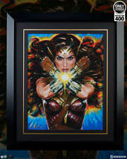 FRAMED SIDESHOW WONDER WOMAN PREMIUM ART PRINT Ozone DC COMICS Superman Batman.