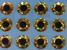 1000 X 3D HOLOGRAPHIC 12MM GOLD EYES FOR FLYTYING,LURE,FLIES,PIKE,BASS,ARTS,