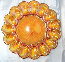 """INDIANA GLASS EGG PLATE HOBNAIL IRIDESCENT AMBER CARNIVAL 11"""" EXCELLENT"""