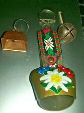 Dutch/Swiss bell painted key chain + 2 other bells lot of 3