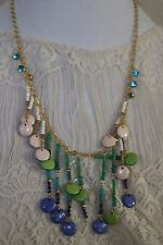 New Anthropologie Womens Costume Jewelry Metal Beaded Strand Chain Necklace