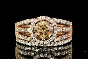 $18,500 LeVian 14K Rose Gold Chocolate White Diamond Engagement Ring Bridal Set