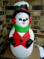 "New 24"" Snowman Rosy Cheek Blow Mold Christmas Dual Lighted Outdoor Decor"
