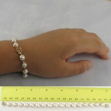14k Solid Yellow Gold 7 Inches Stationary White Cultured Pearl Bracelet TPJ