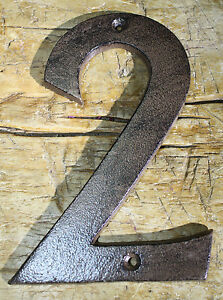 Rustic BROWN Cast Iron Metal House Numbers Street Address 6 INCH Phone #'s 2