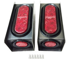 """2 Steel Trailer Light Boxes w/Red 6"""" Oval & 2"""" Marker LED Lights +Wire Connector"""