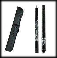 New Action ADV101 Pool Cue Stick - Black w/Grim Reaper 18 - 21 oz & Case