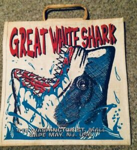 """Vintage Cape May New Jersey Great White Shark Beach Tote Bag 17 1/2"""" X  18"""""""
