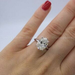 Moissanite Solitaire Engagement Ring Solid 14K White Gold 3.00 CT Oval Certified