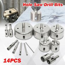 14Pcs/Set 3-70mm Diamond Coated Core Drill Bit Glass Ceramic Marble Hole Saw Set