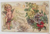 Vintage Birthday Greetings Postcard Cherub Cupid Angel
