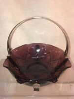 Vtg 40-50's Amethyst Purple Glass Metal Basket Candy BonBon Trinket Dish Bowl