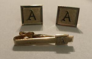 Vintage Swank Set Initial Monogram Tie Bar Clip & Cufflinks Letter A Initials