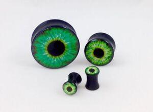 10pc Green Eyeball Eye Double Flare Saddle Plugs - Large Gauge Wholesale Lot