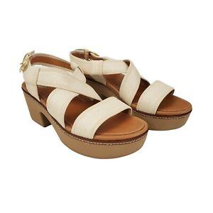 FitFlop Womens 9 Cream Pilar Woven Back-Strap Platform Sandals CushX 7 UK 41 EU