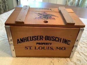 Vintage Mini Wood Beer Crate Budweiser Anheuser - Busch Inc. Recipe Box