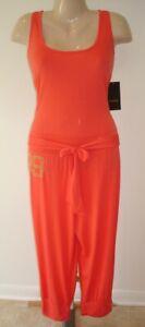 Rocawear Scoop Neck Cowl Back Cropped Jumpsuit orange XL NWT