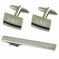 Blue Lapis Silver Cufflinks Engraved Gift Set With Tie Clip 65Mm