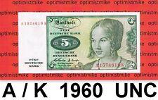 (207) 5 DM  A/K  02.01.1960 UNC Deutsche Mark Germany Zuchthaus