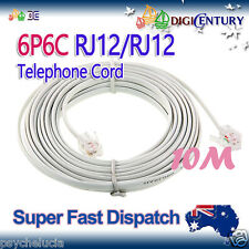 10m 6P6C RJ12 Telephone ADSL Straight Pin Line Cord Cable Flat White Made in AU