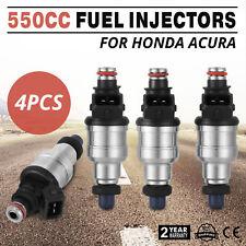 HQ 550cc Fuel Injectors For Honda Acura Turbo Boost EV1 JDM VTEC 4pc CE