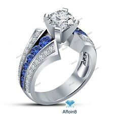 1.50 CT Round Cut Diamond & Sapphire 14k White Gold Women's Engagement Ring