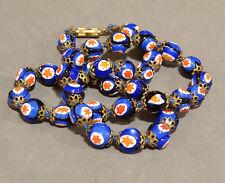 Vintage Millefiori Glass Bead Necklace Cobalt Blue Red Italian Murano Venetian