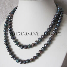 """40"""" 8-10mm Peacock Freshwater Pearl Necklace Strand Fashion Jewelry U"""