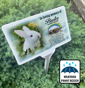 Grave marker, Rabbit memorial garden tree stake and personalised photo plaque.