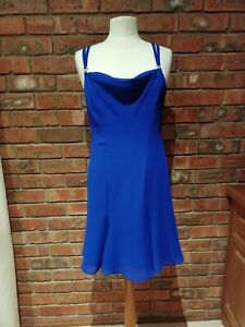 Original Vintage 1980s Midnight Blue Chiffon Dress Designer Inspired Detail