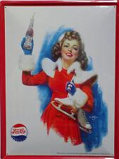 PLAQUE METAL publicitaire vintage PEPSI COLA PIN UP PATINEUSE  - 40 X 30 cm