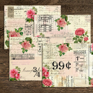 4X Vintage Paper Pad Peony Sticker Scrapbooking Journal Cardstock Card Album DIY